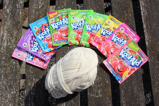Wolle färben mit Kool-Aid