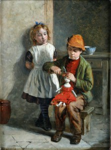 The Young Doll Makers , the Artist is William Hemsley (1819-1893)